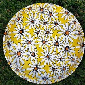 Vintage 70s Daisy Tin Tray Retro Flower Child